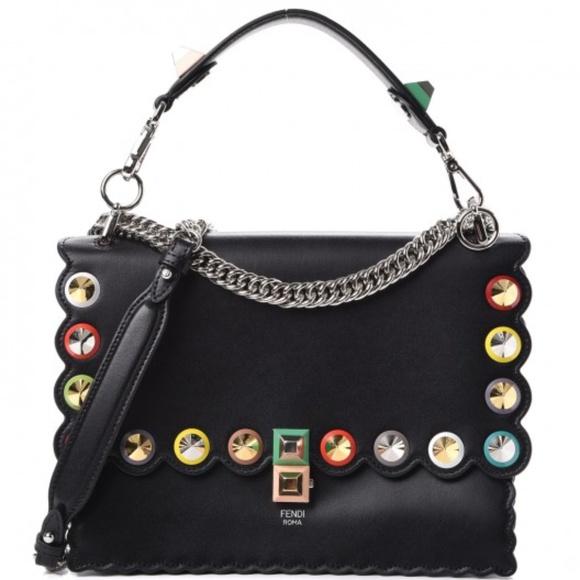 NEW Fendi Calfskin Studded Kan I Shoulder Bag